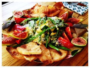 Summer Romano beans, raw goat cheese, pate, torts, yellow zucchini, arugula flowers, fresh figs