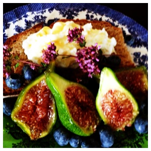 Figs with toast, Greek yogurt, honey, blueberries and oregano blossoms