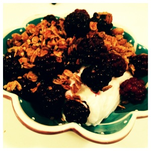 Greek yogurt with granola and berries