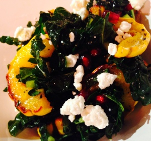 Kale and Delicata Squash Salad with Pomegranate Seeds