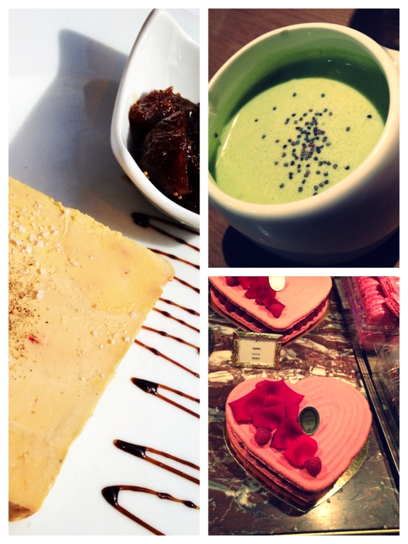 Clockwise, top right: chilled cream of fennel soup from L'epi Dupin, gorgeous heart-shaped macaron's from Laduree, duck foie gras with fig compote from Le Comptoir du Relais