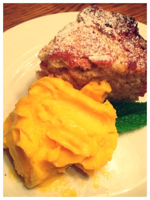Ricotta Cake with Mango Sorbet