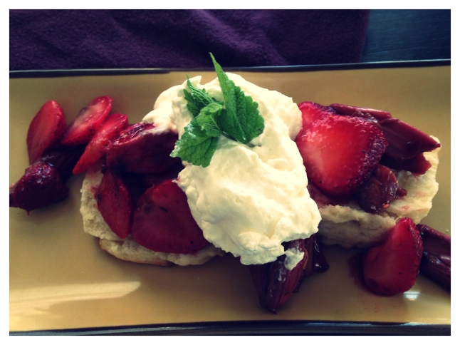 Thyme and Balsamic-Infused Rhubarb with Strawberries , Ricotta Shortcake and Vanilla Whip Cream