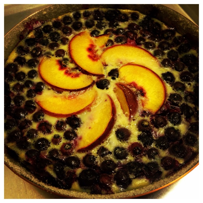 Blueberry and Peach Clafoutis