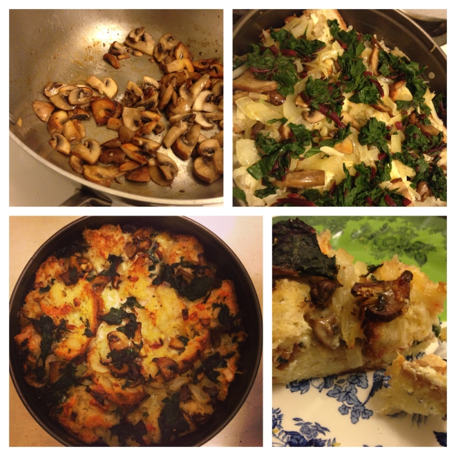 Savory Bread Pudding with Wilted Chard and Mushrooms