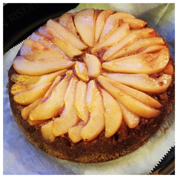 Pear Almond Upside-Down Cake